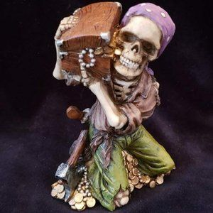 Skeleton Pirate with Treasure Chest Resin Figurine